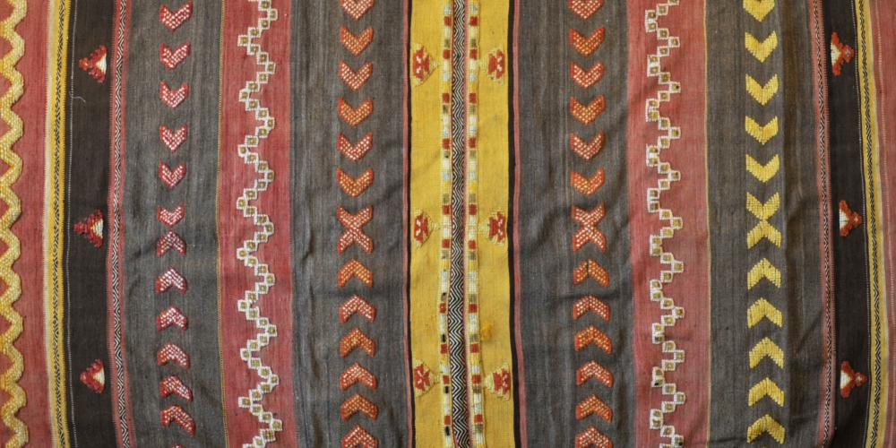 Old Moroccan Ait Ouzouzguite tribal long rug