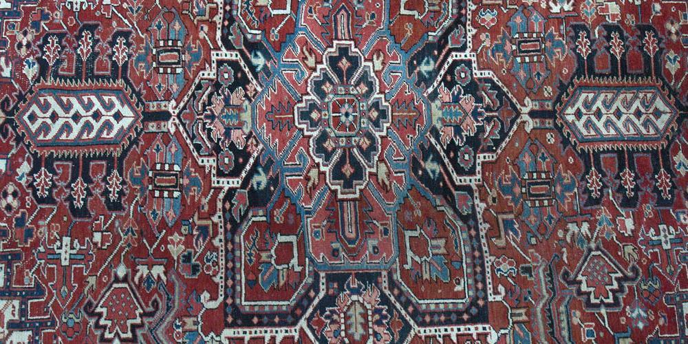 Old Heriz Persian Carpet floral hand-spun wool