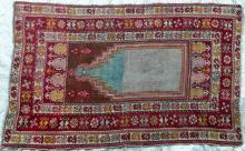 Antique Mucur Ottoman Turkish Prayer Rug Natural dyes