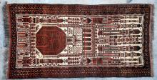 Antique Afghan Kizilayak Turkoman Prayer Rug