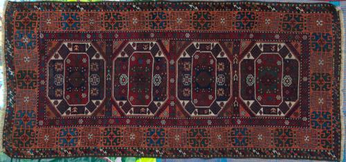 Antique Anatolian Holbein Turkish tribal rug