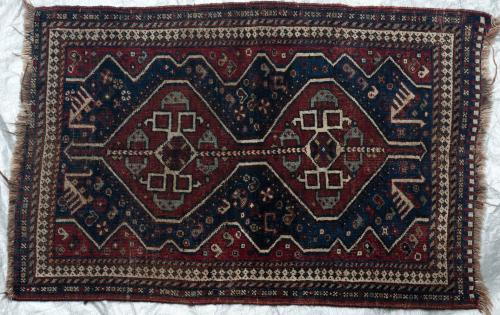 Afshar or Qashqa'i Persian Tribal rug hand-spun wool