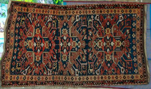 Antique Tribal Kazak Chelaberd Eaglestar or Sunburst Caucasus