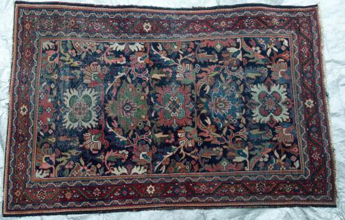 Antique Persian Bidjar Kurdish Rug hand-spun wool natural dyes