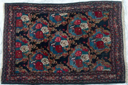 Senneh Persian Village Antique Rug hand-spun wool natural dyes