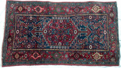 Antique Persian Bidjar Kurdish Rug hand-spun wool natural dyes