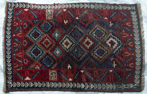 Antique Caucasian or Kurdish small Rug natural dyes