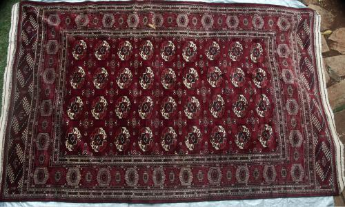 Semi-Antique Yomut Turkoman Tekke gul Tribal Persian Carpet