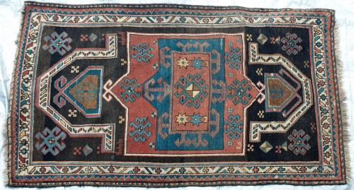 Antique Kazak Caucasian Prayer Rug hand-spun wool natural dyes