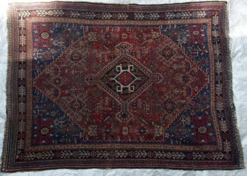 Antique Tribal Qashqa'i Persian Rug natural dyes hand-spun wool