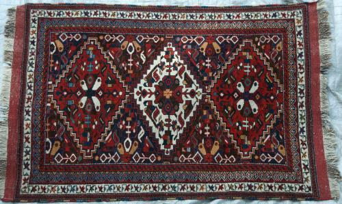 Colourful Tribal Afshar Persian Rug natural dyes hand-spun wool