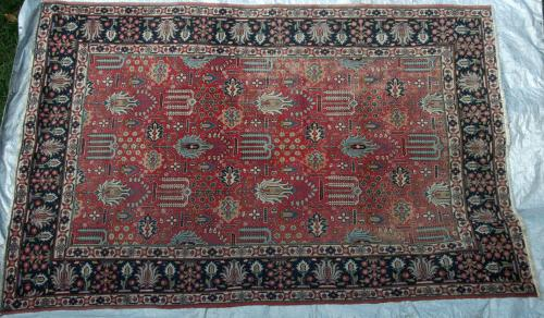 Antique Tabriz Persian Carpet soft natural dyes hand-spun wool