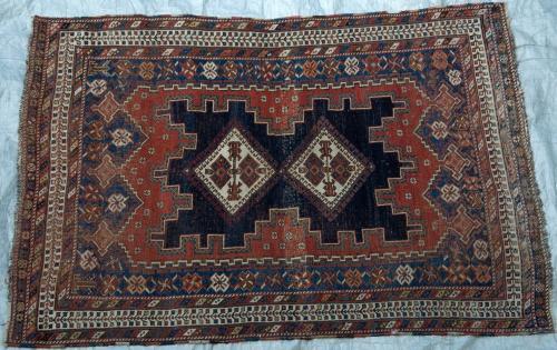 Antique Tribal Afshar Persian Rug natural dyes hand-spun wool