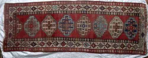 Antique Karabagh or Kurdish Tribal runner Persian or Caucasian