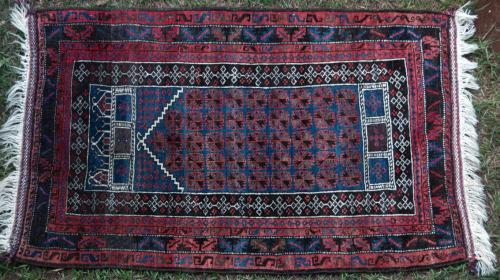 Baluch Afghan Tribal Prayer Rug hand-spun wool