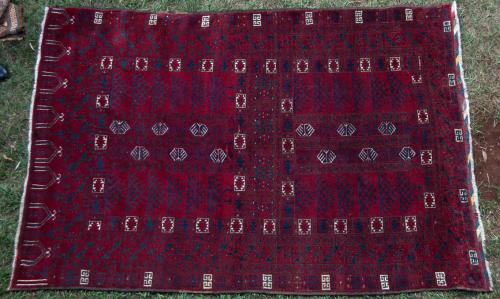 Old Afghan Ersari Hatchelu Rug hand-spun wool