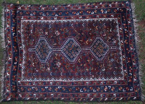 Antique Kamseh Murghi or chicken rug