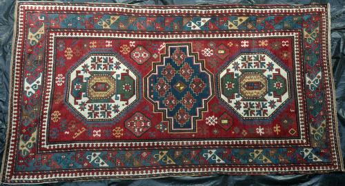 Antique three medallion Kazak or Lori Pambak Caucasian rug