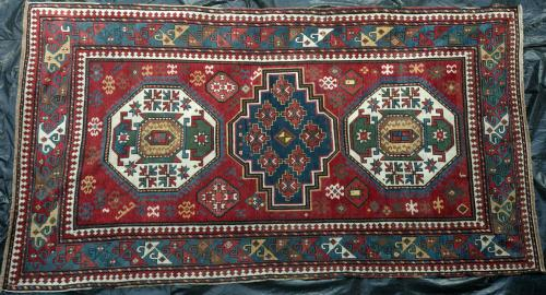 Antique three medallion Kazak or Lori Pambak Caucasian rug