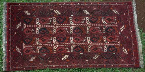 Old Ersari Afghan Rug with repeat botehs