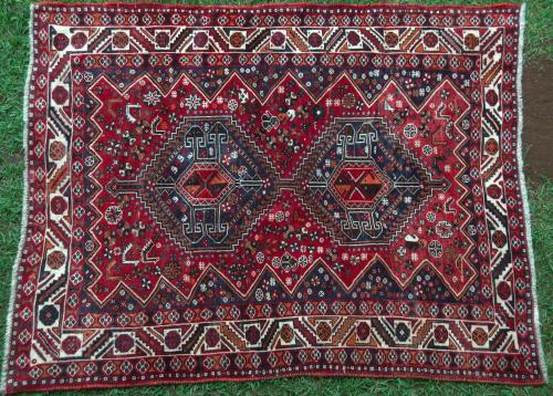 Tribal Qashqa'i Rug with animal motifs