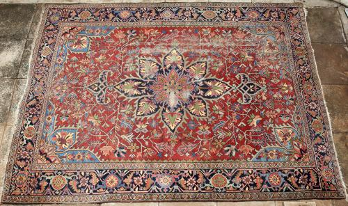 Old or antique Heriz Serapi Persian Rug