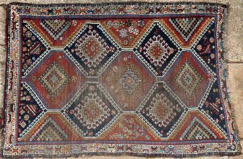 Antique Qashqa'i tribal Persian rug
