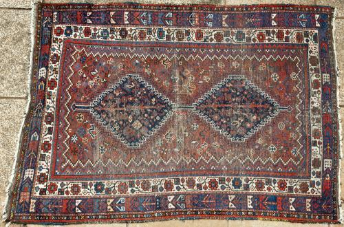 Antique Kamseh Confederacy Persian tribal rug
