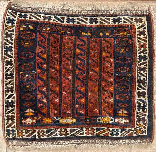 Old or antique Qashqa'i Tribal Persian khorjin bagface