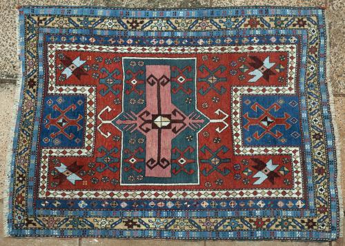 Antique Fachralo Kazak Armenian Caucasian tribal rug