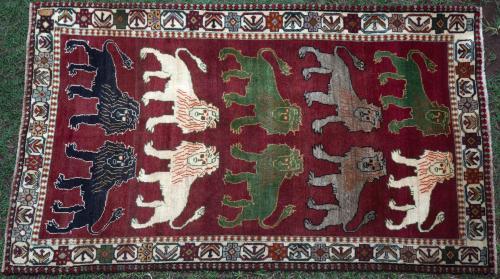 Old Qashqa'i Tribal Persian 'lion' Gabbeh Rug