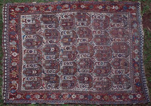 Antique Kamseh tribal Persian rug