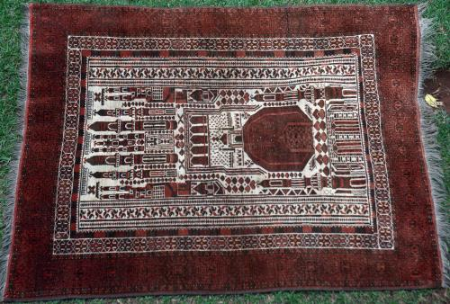 Antique Kizilayak Afghan oversized prayer rug
