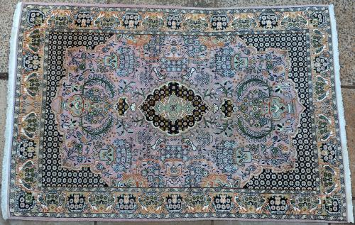 Kashmir wool and silk rug