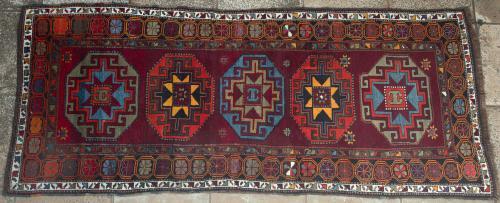 Antique Kazak Caucasian Runner