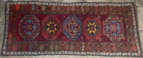 Antique Kazak Caucasian Runner
