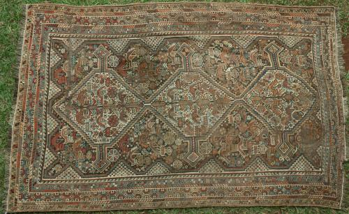 Antique Khamseh Confederacy Tribal Persian Rug