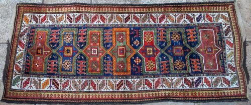Antique Karabagh Caucasian long rug