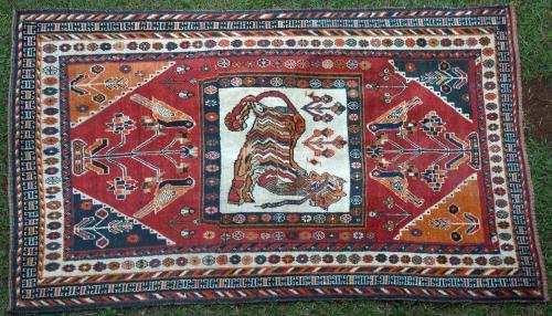 Antique Tribal Qashqa'i Tiger Persian Rug