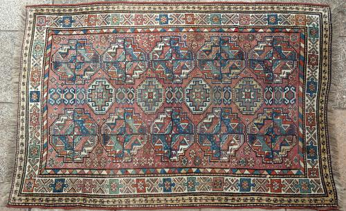 Antique Kazak Caucasian Rug in Tekke design
