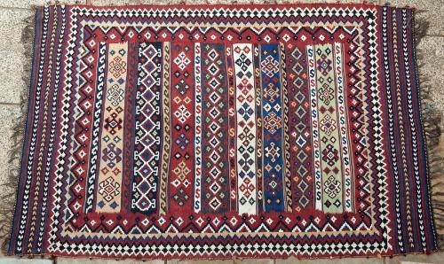 Old or antique Qashqa'i Tribal Persian kilim